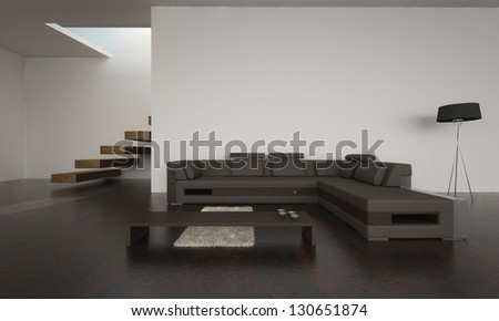 A 3D rendering of modern living room with brown sofa set - stock photo