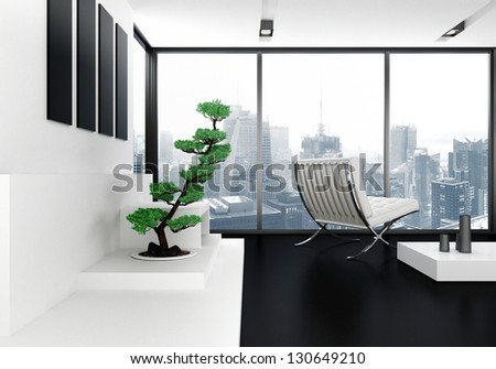A 3D rendering of modern living room with cityscape view - stock photo