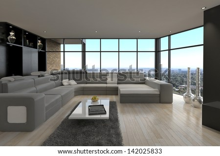A 3d rendering of modern Loft Living Room | Architecture Interior