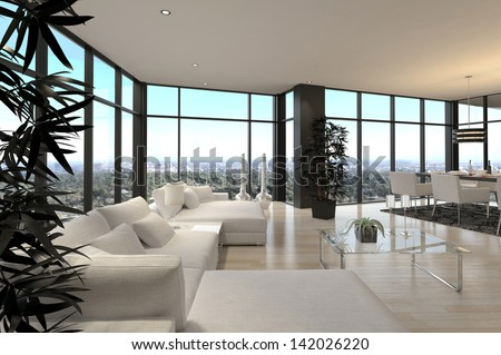 A 3d rendering of Modern Loft Living Room | Architecture Interior - stock photo