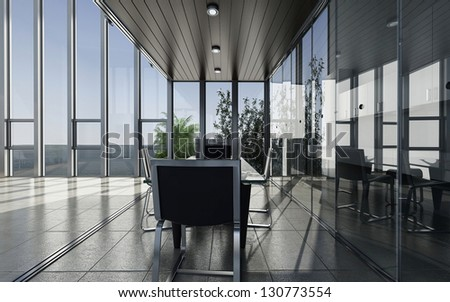 A 3D rendering of modern meeting room - stock photo