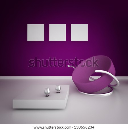 A 3D rendering of modern purple chair - stock photo