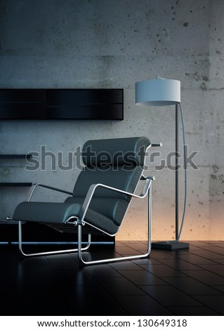A 3D rendering of modern rest chair - stock photo