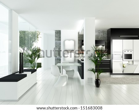 A 3d rendering of modern white luxury kitchen interior - stock photo