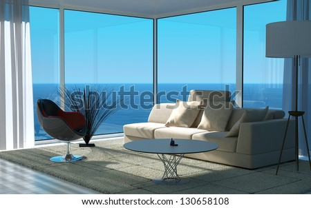 A 3D rendering of sunny living room interior - stock photo