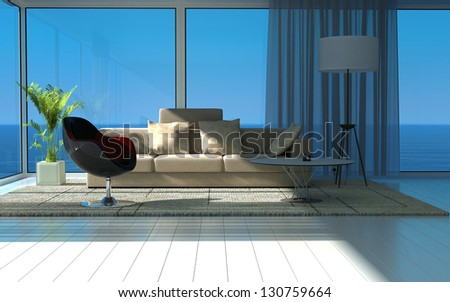 A 3D rendering of sunny living room with large windows - stock photo