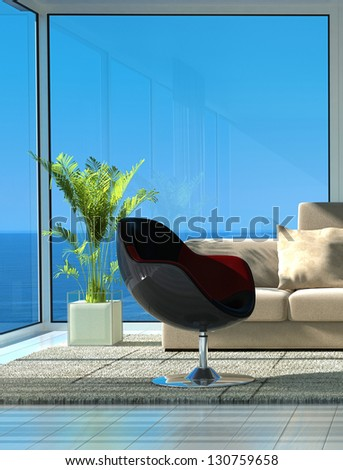 A 3D rendering of sunny living room with modern chair - stock photo
