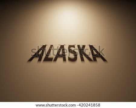 A 3D Rendering of the Shadow of an upside down text that reads Alaska
