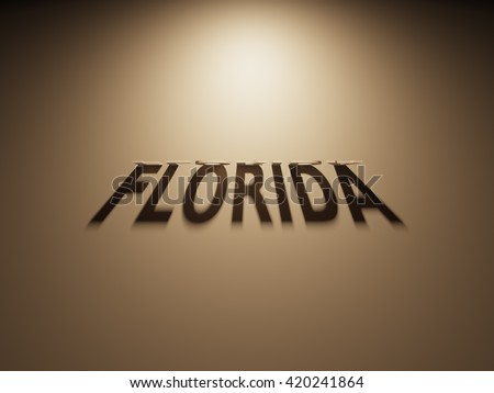 A 3D Rendering of the Shadow of an upside down text that reads Florida.