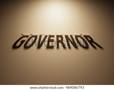 A 3D Rendering of the Shadow of an upside down text that reads Governor.