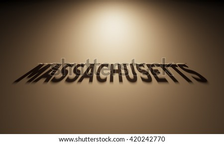 A 3D Rendering of the Shadow of an upside down text that reads Massachusetts.