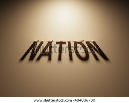 A 3D Rendering of the Shadow of an upside down text that reads Nation.