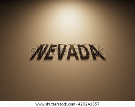 A 3D Rendering of the Shadow of an upside down text that reads Nevada.