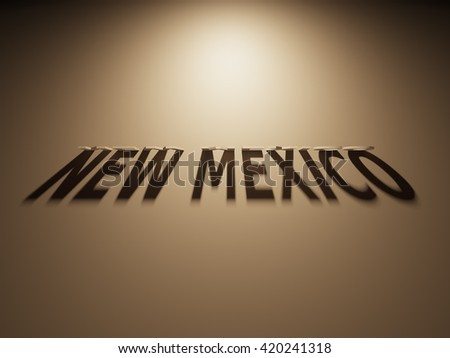 A 3D Rendering of the Shadow of an upside down text that reads New Mexico.