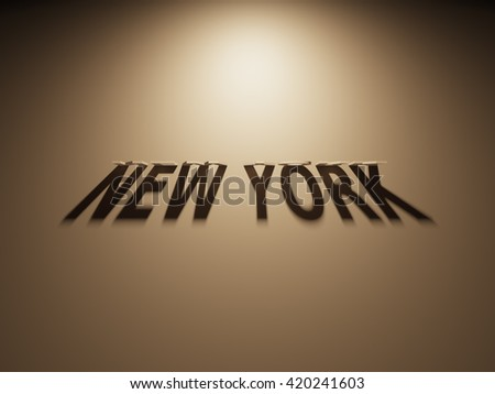 A 3D Rendering of the Shadow of an upside down text that reads New York.