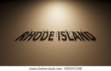 A 3D Rendering of the Shadow of an upside down text that reads Rhode Island.