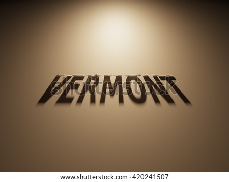A 3D Rendering of the Shadow of an upside down text that reads Vermont.