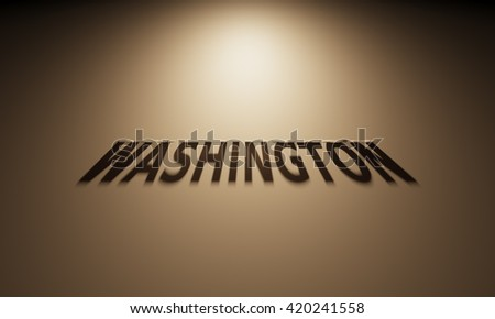 A 3D Rendering of the Shadow of an upside down text that reads Washington.