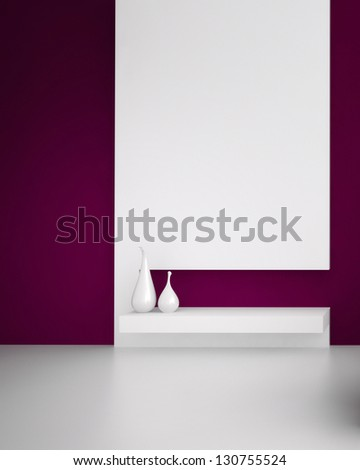 A 3D rendering of two white vases - stock photo