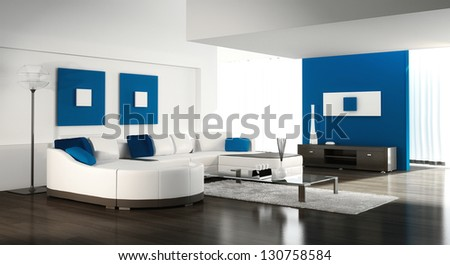 A 3D rendering of white and blue living room - stock photo