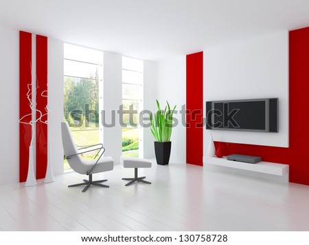 A 3D rendering of white and red living room - stock photo