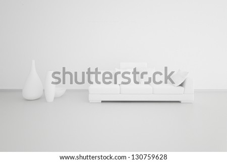 A 3D rendering of white living room - stock photo