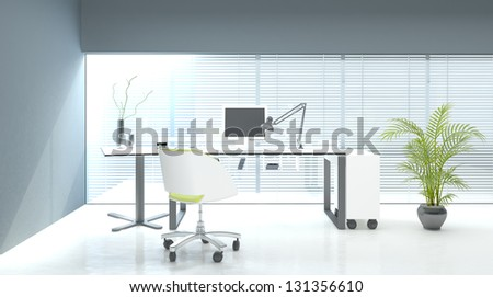 A 3D rendering of white office interior - stock photo