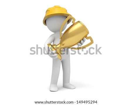A 3d safety worker holding a gold trophy - stock photo