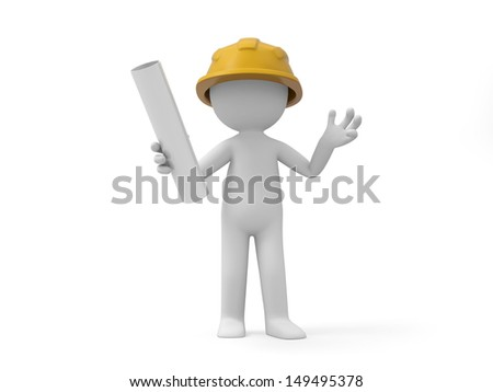 A 3d safety worker holding something in hand