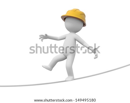 A 3d safety worker walking alone the rope - stock photo