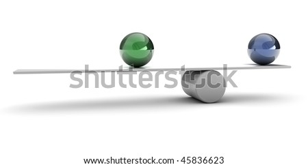 A 3d set of spheres, balancing on a tube - stock photo