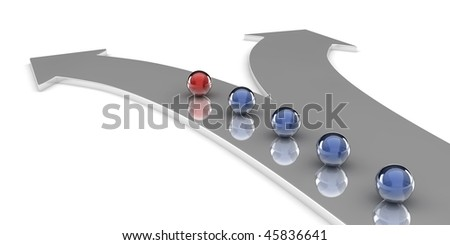 A 3d set of spheres on an arrow shaped path, isolated on white background - stock photo