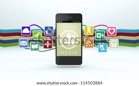 A 3D Smart Phone on a colorful textured background displaying icons for popular social media services - stock photo