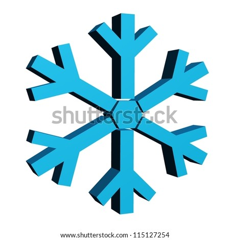 A 3d snow flakes isolated against a white background - stock photo