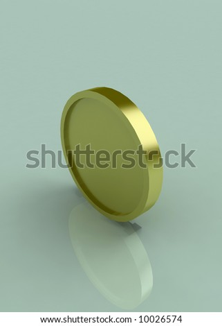 A 3d symbolic gold coin - stock photo