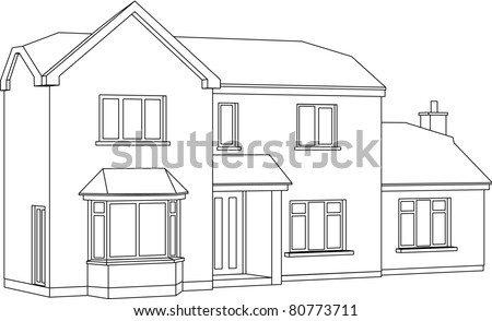 Good A 3d Two Point Perspective Line Drawing Of A Two Storey Detached House.  Raster Version