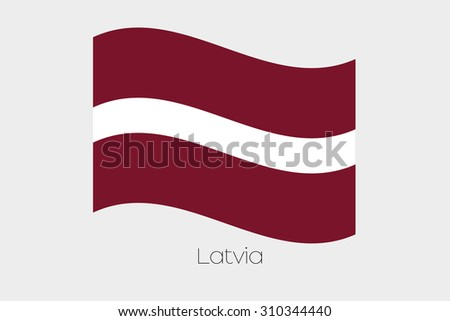 A 3D Waving Flag Illustration of the country of  Latvia