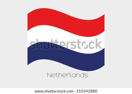 A 3D Waving Flag Illustration of the country of  Netherlands