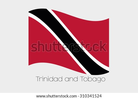 A 3D Waving Flag Illustration of the country of  Trinidad and Tobago