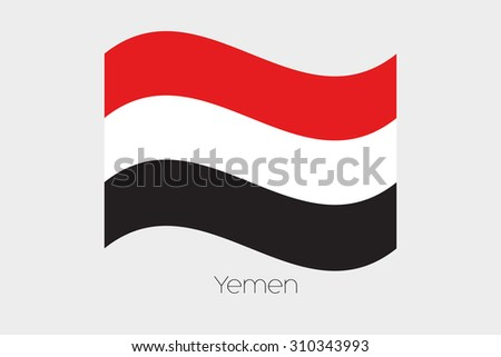 A 3D Waving Flag Illustration of the country of  Yemen