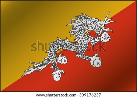 A 3D Wavy Flag Illustration of the country of  Bhutan