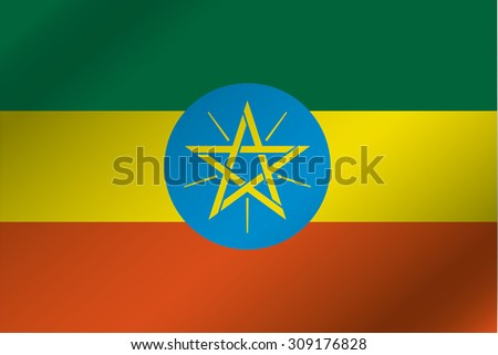 A 3D Wavy Flag Illustration of the country of  Ethiopia - stock photo