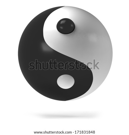a 3d ying yang isolated on a white backgound