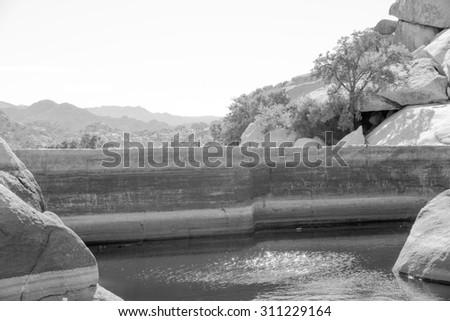 A dam in Joshua Tree National Park, California, USA - stock photo