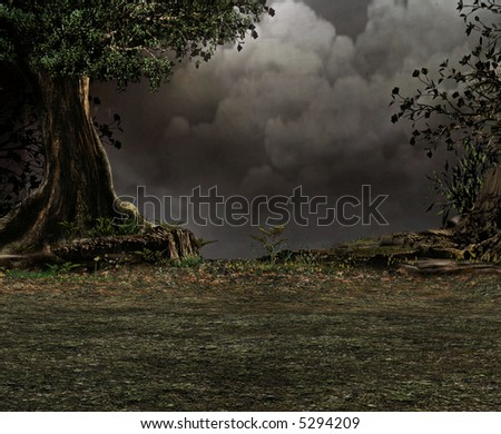 A dark and stormy night deep in the woods looking over the edge of a cliff. - stock photo