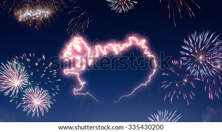 A dark night sky with a sparkling red firecracker in the shape of Iceland composed into.(series) - stock photo
