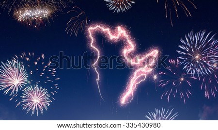 A dark night sky with a sparkling red firecracker in the shape of Quebec composed into.(series) - stock photo