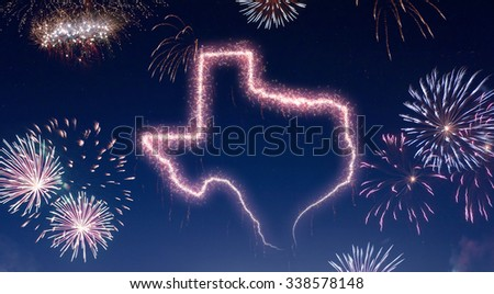 A dark night sky with a sparkling red firecracker in the shape of Texas composed into.(series) - stock photo