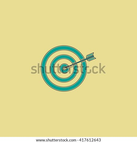A dart is in the center of a dartboard. Target concept. Grren simple flat symbol with black stroke over yellow background