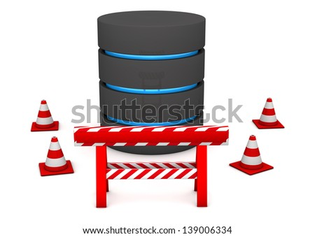 A databse with cordon on the white background. - stock photo